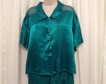 Vtg Vintage Victoria's Secret 2pc pajama set pj 100% Green Sz S Small