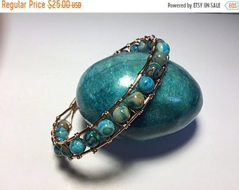 Half Price One week sale Copper wire and turquoise beads bracelet
