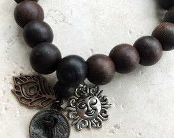 Zen Wooden Bracelet Brown Beaded Bracelet with Chinese Coin and Smiling Sun