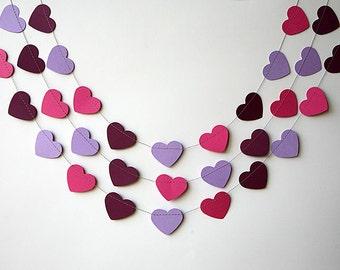 Valentines Day decor, Valentine garland, Valentine Party, Heart garland, Valentine decor, Purple pink garland, KCO-3034
