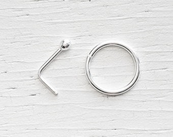 Sterling Silver Nose Ring - Choose L Shape or Hoop - Silver Nose Ring - Silver Nose Stud - Dainty Nose Ring, Dainty Nose Stud, .925 Silver