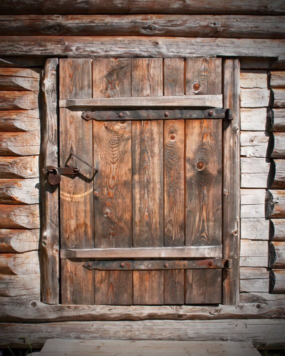 Old Wood Door Backdrop Rustic Barn Door Printed Fabric
