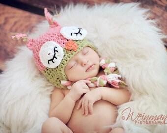 Owl hat, baby owl hat, crochet owl hat, sleepy owl hat, pink owl hat, newborn hat, newborn photo prop, toddler owl hat, baby girl hat