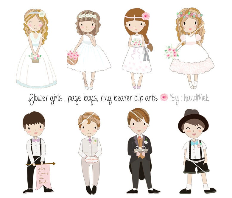 Page boys flower girls ring bearers clip art PNG JPEG