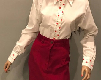 70's embroidered pointy collar blouse,top,shirt-Med-Lg
