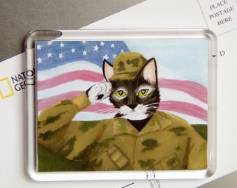 ARMY Cat Magnet, Cat Wearing American Military Uniform, Fridge Magnet