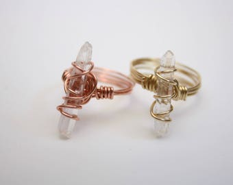 Quartz Ring in Copper or Gold wire