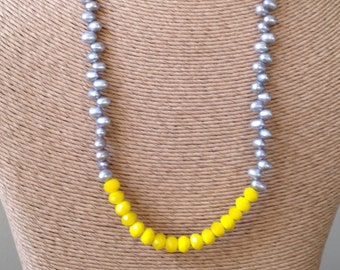 REDUCED Beaded Necklace, Freshwater Pearl Necklace, Color Block Necklace, Gray and Yellow Necklace, Yellow Glass Beads, Etsy Jewelry