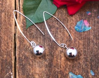 Sterling Silver Earrings. Long Dangle Earrings. 925 Sterling Silver Earrings. Polished Sterling Silver Dangle Earrings. Ball Earrings.