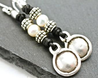 Silver Earrings , Leather Earrings , Silver Bead Earrings , Dangle Earrings , Tribal Earrings , Boho Jewelry , Amy Fine Design