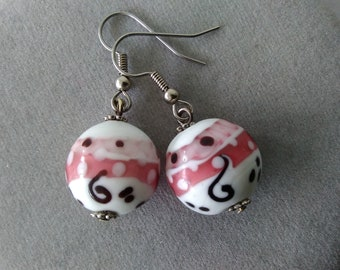 White, Pink, and Black Lampwork Glass Earrings
