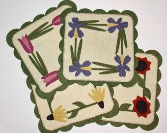"""PDF pattern for Four 12"""" Square Wool Felt Floral Candle Mats"""