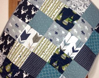 Rustic Baby Quilt, Woodland Baby Quilt, Teepees, Moose, Deer, Arrows, Bears,Rustic Nursery, Gender Neutral, Woodland Crib Bedding, Quilt 7