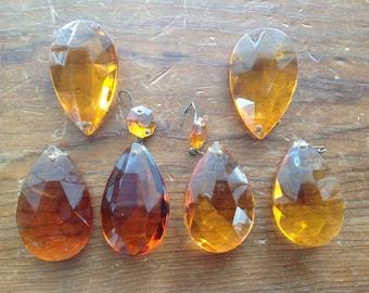 Antique Amber Chandelier Glass Prisms