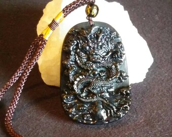 Black Obsidian Chinese Dragon Necklace, Lucky Obsidian Dragon Pendant Necklace, Intense Vibration Healing Pendant