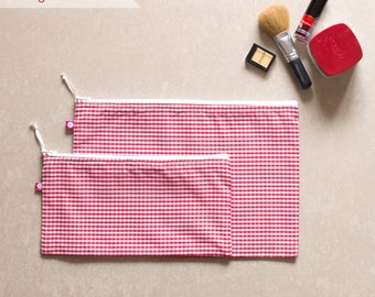 Checke/Stripe Pouches (set of 2)