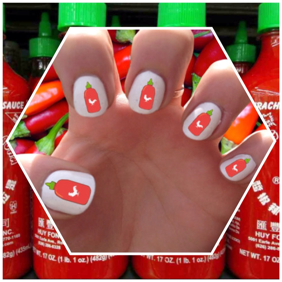 Sriracha Hot Sauce Nail Decals Transfer Nail Stickers // Nail