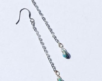 Turquoise Teardrop Chain Chandelier Earrings TCJG