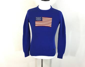 polo ralph lauren american flag 100% cotton pullover sweater size M