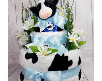 Cow Diaper Cake| Cow Baby Gift| Diaper Cake| Baby Gift| Baby Shower Centerpiece| Baby Boy Gift| Farm Animal Diaper Cake| Centerpiece| Gift