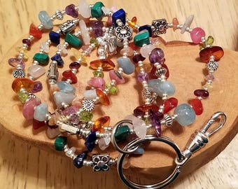 Melange multicolor gemstone chip lanyard with silver tone hardware ... perfect for your ID badge key eyeglasses