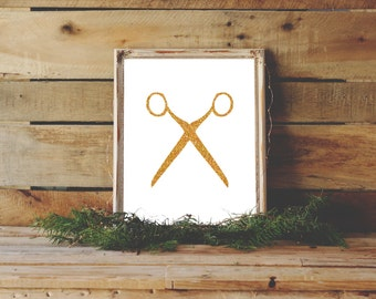 Scissor Print, Gold Scissors Art, Salon Decor, Printable Art, Wall Prints, Gold Wall Decor, Instant Download, Craft Decor, Scissors Art