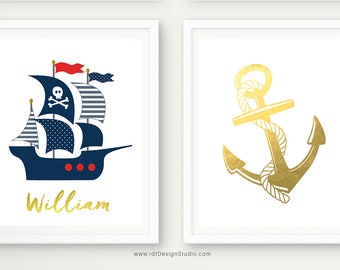 Anchor Print, Pirate Ship, Nautical Name Print, Set of 2 Nautical Prints, Anchor Wall Decor, Custom Name Print, Nursery Wall Art, D83-S5