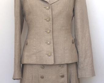 Authentic Chanel Boutique linen vintage skirt suit size 40