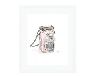 Pink Rolleiflex Camera Giclee Print