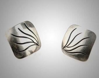 sterling earrings engraved design, handmade by Joseph Skinger, screwback