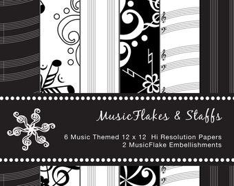 MusicFlakes & Staff Digital Scrapbook Paper