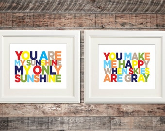 You Are My Sunshine, My Only Sunshine Theme Wall Art | Madras Colors | Set of 2 wall prints, any size | Baby Kid Nursery Room Decoration PB