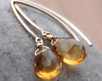 Gold Honey Citrine Earrings - Honey Drops - 14KT Gold Filled