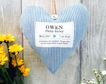 Newborn Baby Boy Gift - Personalised Heart - Choice of Fabric - Supplied Gift Boxed. Keepsake Gift