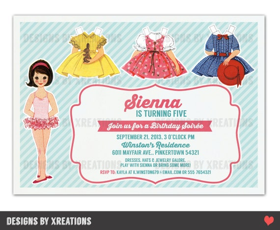 Items similar to dress up party invitation paper doll invitation items similar to dress up party invitation paper doll invitation customizable wordings printable invitation on etsy stopboris Images