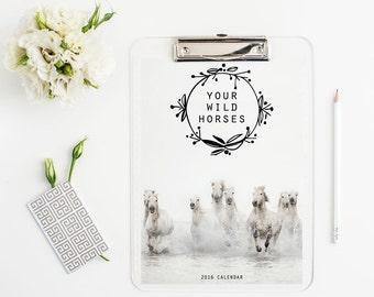 "2016 Calendar, Horse Calendar, 2016 Desk Calendar, 5x7"" Loose Leaf Pages, Nature Photography, Nature Calendar"