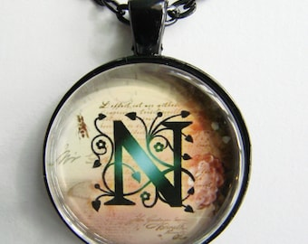 """Initial """"N"""" Necklace -- Green Vine pattern Personalized Letter N Necklace, Wedding Necklace, for Bridesmaid, Hen Night, Friendship token"""