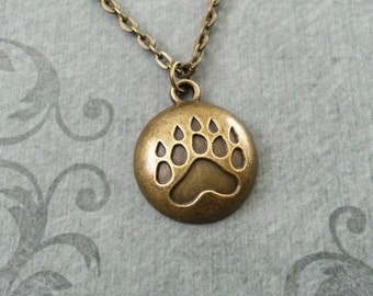 Bear Claw Necklace Bronze Paw Print Necklace Grizzly Bear Necklace Hunting Jewelry Hunter Necklace Native American Jewelry Brass Bear Print