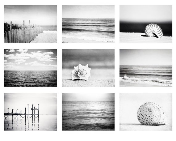Black and white beach photo set 9 nautical photographs grey
