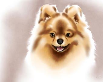 Pomeranian Spitz - watercolor print on canvas