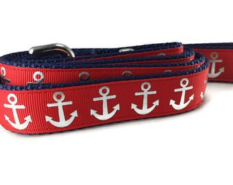 Dog Leash, Red Foil Anchors, 1 inch wide, 1 foot, 4 foot, or 6 foot