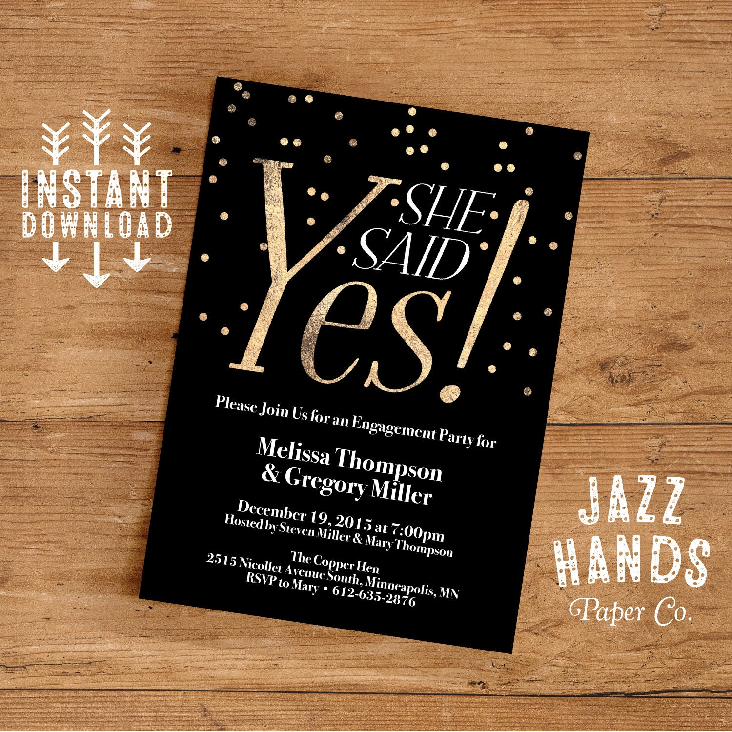 Printable Engagement Party Invitation Template | DIY | Engagement ...