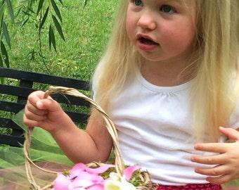 Set of 2 Small Barefoot Flower Girl Basket, Wild Honeysuckle Twig Basket, Moss Lined Basket, SHT2