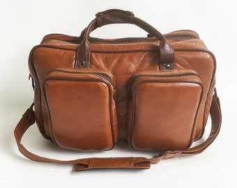 Large Coast S-5 Brown Faux Leather Padded Camera Bag, Shoulder Bag, Carry-on Bag, Travel Bag
