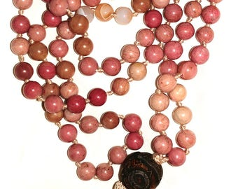 Messy Heart | Rhodochrosite & Quartz Mala | 8mm Hand-Knotted | Yoga Buddhist Reiki Chanting Necklace Heart Chakra Anahata