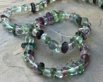 Fluorite Nugget Beads, Fluorite Pebble Beads, Large Fluorite Chips, 8mm approx., 15.5 inch strand