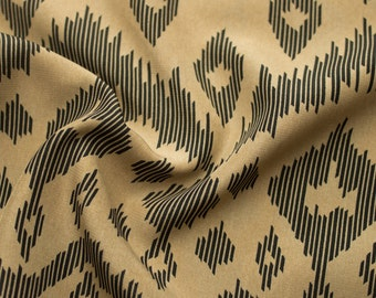 Black Taupe Ikat Pattern Print on 58'' Peach Skin Fabric By the Yard 3209