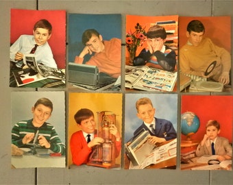 ot of 8 vintage postcards -children with objects from the 1970s - for all creative projects