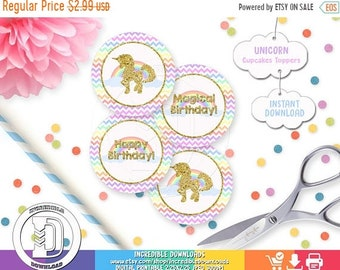 ON SALE Unicorn cupcake toppers, Rainbow Cupcake Topper, Magical, Party Circles, Birthday Party Decorations, INSTANT Download
