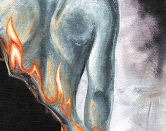 Fire Poster, Flame Print, Chronic Pain, Mental Illness, Fibromyalgia, Custom Size, Female Nude Art, Back Pain, Burned Edges, Custom Size